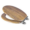 Croydex Flexi-Fix Ontario Teak Effect Anti-Bacterial Toilet Seat with Soft Close and Quick Release - WL602086H profile small image view 1
