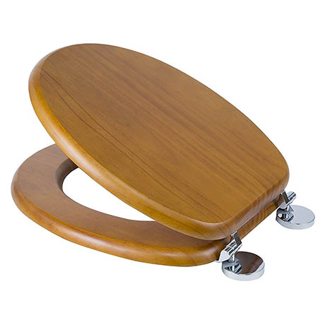 Croydex Flexi-Fix Davos Antique Effect Solid Pine Anti-Bacterial Toilet Seat - WL602250H