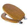 Croydex Flexi-Fix Davos Antique Effect Solid Pine Anti-Bacterial Toilet Seat - WL602250H profile small image view 1