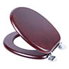 Croydex Flexi-Fix Davos Mahogany Effect Solid Pine Anti-Bacterial Toilet Seat - WL602252H profile small image view 1