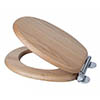 Croydex Flexi-Fix Rutland Solid Oak Anti-Bacterial Toilet Seat with Soft Close and Quick Release - WL602376H profile small image view 1