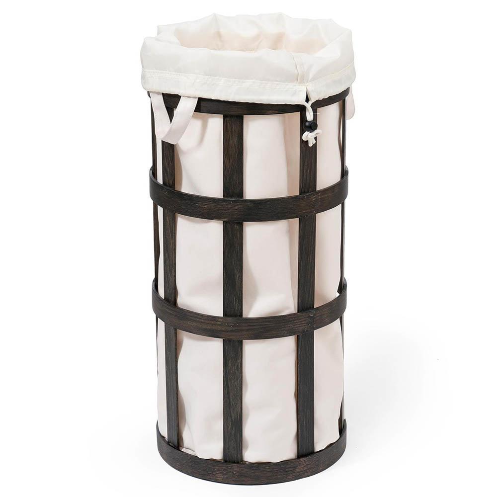 Freestanding Wooden Laundry Basket Cage Dark Oak/White