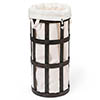 Freestanding Wooden Laundry Basket Cage Dark Oak/White profile small image view 1