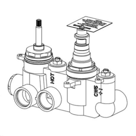 Crosswater 2 Outlet Thermostatic Shower Valve Body Landscape - WLBP25X31R+