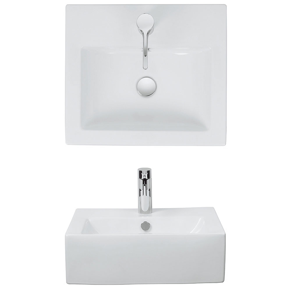 Bauhaus - Bolonia 1 Tap Hole Countertop or Wall Mounted Basin - 500 x 440mm Profile Large Image