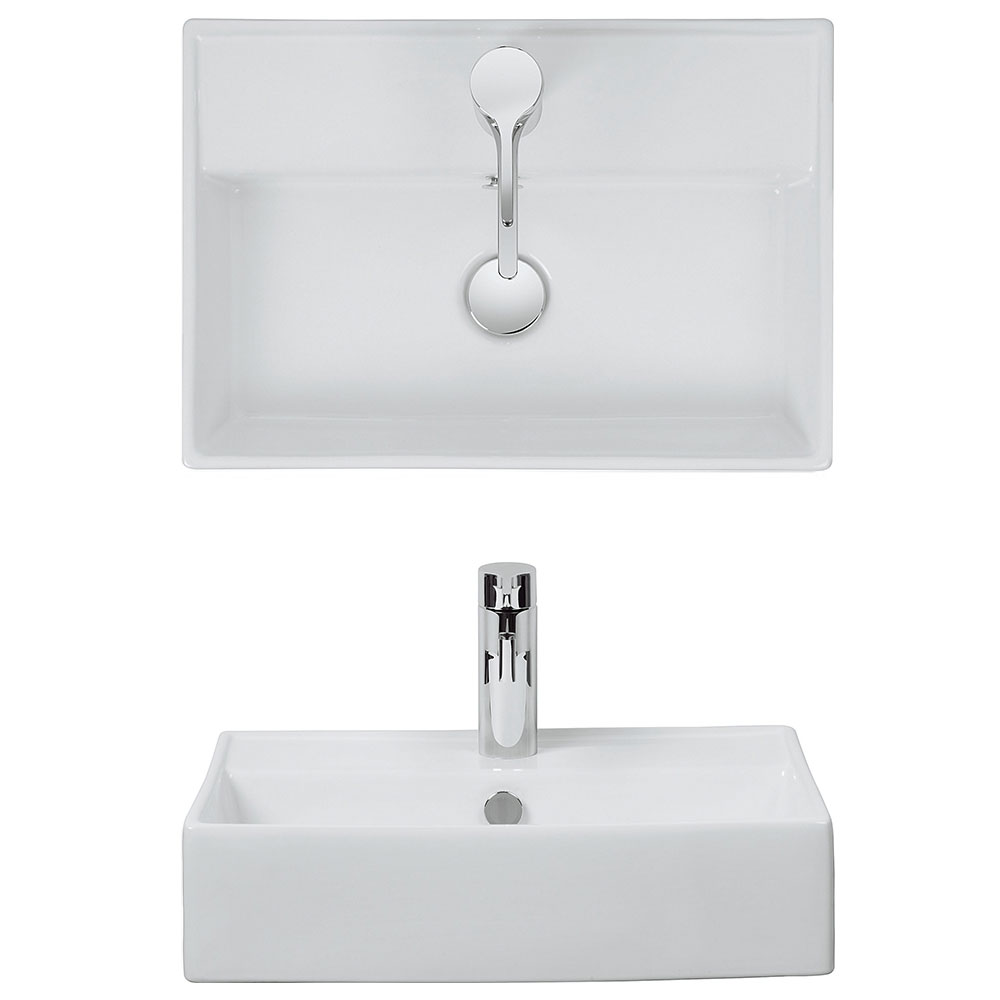 Bauhaus - Turin 1 Tap Hole Countertop or Wall Mounted Basin - 500 x 350mm profile large image view 2