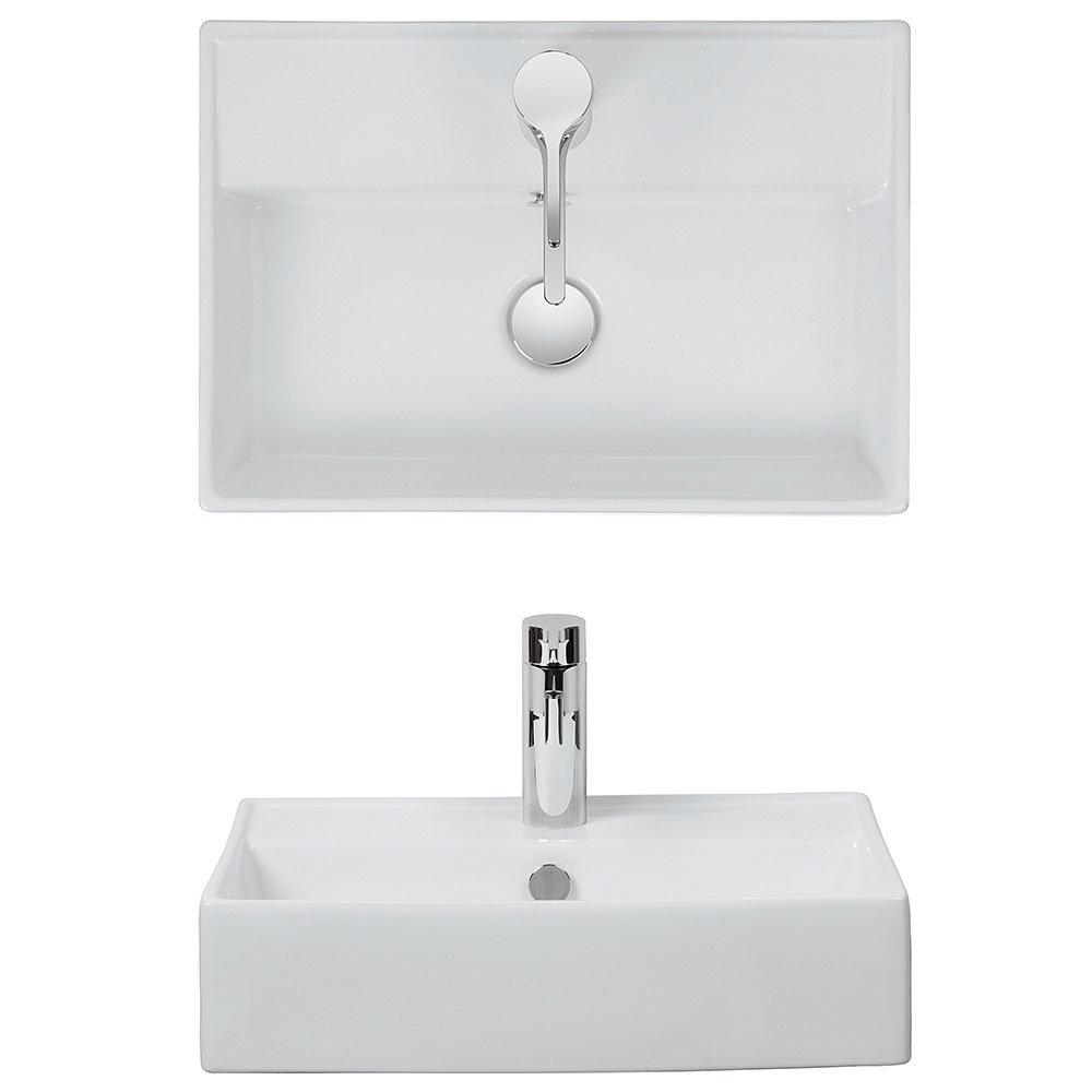Bauhaus - Turin 1 Tap Hole Countertop or Wall Mounted Basin - 500 x 350mm Profile Large Image