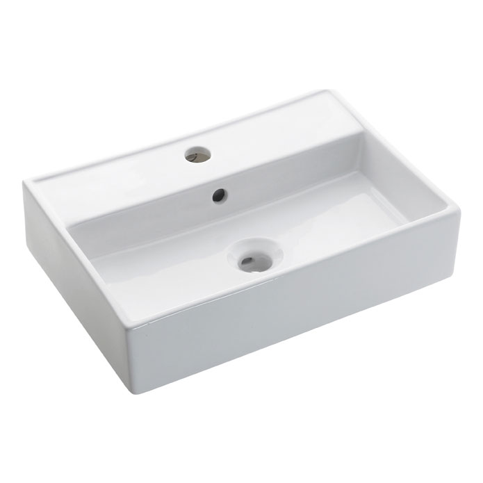 Bauhaus - Turin 1 Tap Hole Countertop or Wall Mounted Basin - 500 x 350mm profile large image view 1