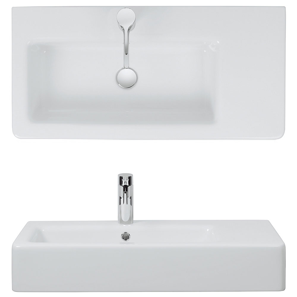 Bauhaus - Air 80 1 Tap Hole Countertop or Wall Mounted Basin - 800 x 390mm Profile Large Image