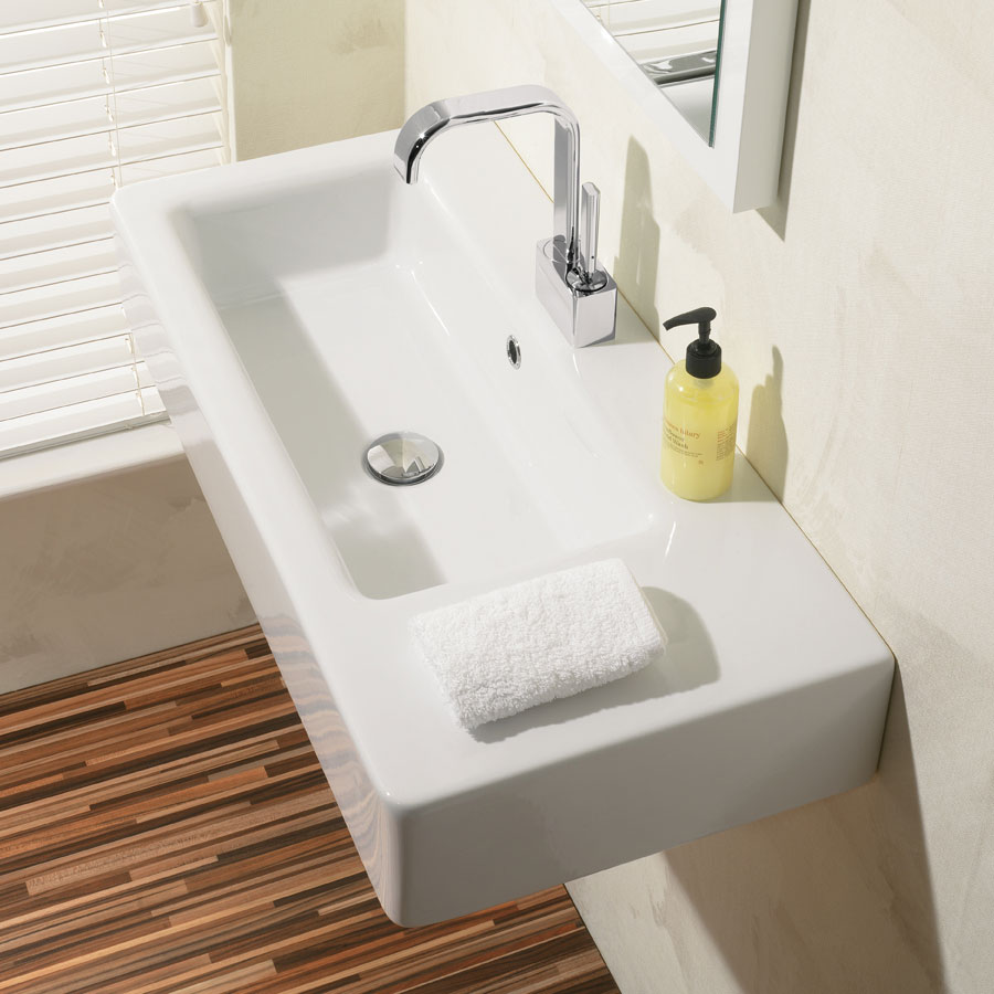 Bauhaus - Air 80 1 Tap Hole Countertop or Wall Mounted Basin - 800 x 390mm Feature Large Image