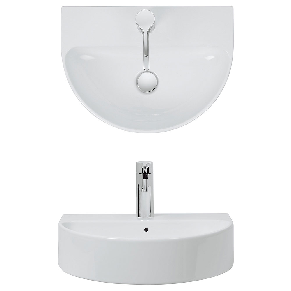 Bauhaus - Celeste 1 Tap Hole Countertop or Wall Mounted Basin - 500 x 370mm profile large image view 2