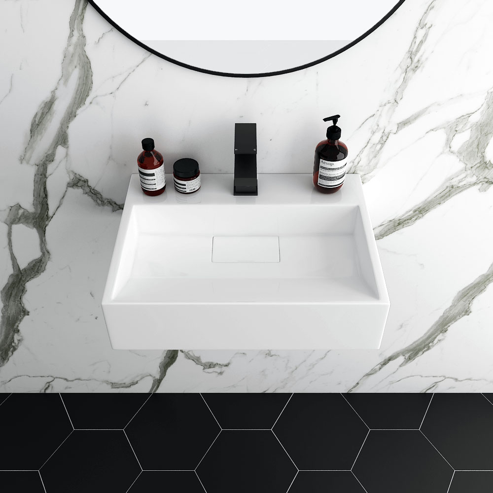 Arezzo 500mm Wall Mounted Countertop Stone Resin Basin With Hidden Waste Cover Victorian Plumbing Uk