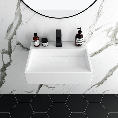 Arezzo 500mm Wall Mounted / Countertop Stone Resin Basin with Hidden Waste Cover