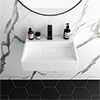 Arezzo 500mm Wall Mounted / Countertop Stone Resin Basin with Hidden Waste Cover profile small image view 1