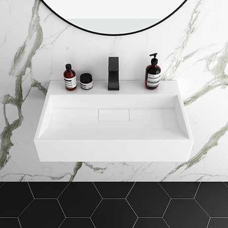 Arezzo 600mm Wall Mounted / Countertop Stone Resin Basin with Hidden Waste Cover
