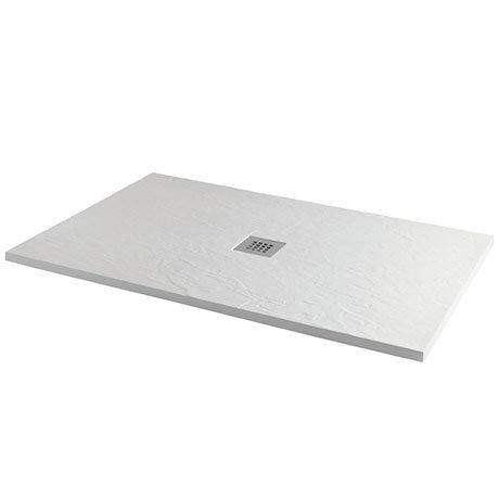 Imperia 1200 x 800mm White Slate Effect Rectangular Shower Tray + Chrome Waste