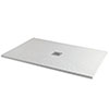 Imperia 1200 x 800mm White Slate Effect Rectangular Shower Tray + Chrome Waste profile small image view 1