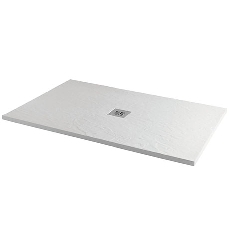 Imperia 1200 x 900mm White Slate Effect Rectangular Shower Tray + Chrome Waste
