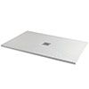 Imperia 1200 x 900mm White Slate Effect Rectangular Shower Tray + Chrome Waste profile small image view 1