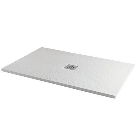 Imperia 1400 x 800mm White Slate Effect Rectangular Shower Tray + Chrome Waste