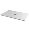 Imperia 1400 x 800mm White Slate Effect Rectangular Shower Tray + Chrome Waste profile small image view 1