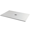 Imperia 1700 x 800mm White Slate Effect Rectangular Shower Tray + Chrome Waste profile small image view 1