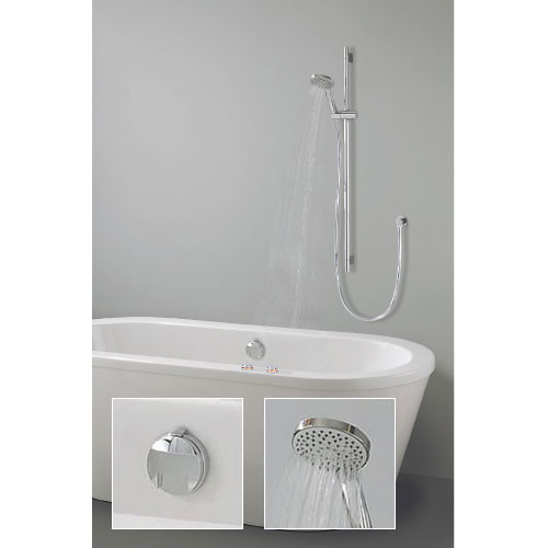 Crosswater Digital Wraith Duo Bath with Slide Rail Kit and Standard Bath Filler Large Image