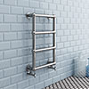 Inglewood Traditional 748 x 498mm Chrome Heated Towel Rail profile small image view 1