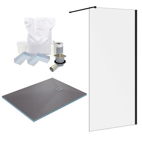 Arezzo 1200 x 900 Wet Room Pack - Matt Black