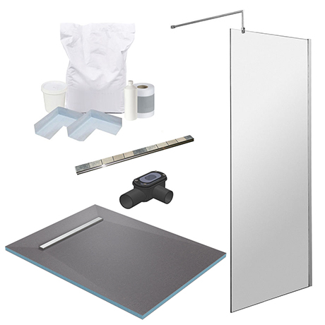 1400 x 900 Wet Room Pack with 600mm Linear Waste