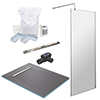 1400 x 900 Wet Room Pack with 600mm Linear Waste profile small image view 1