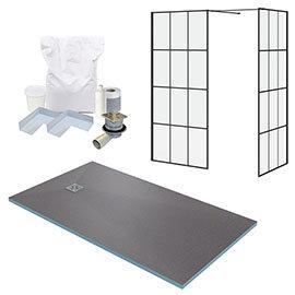 Arezzo 1600 x 900 Wetroom Enclosure Pack - Matt Black Grid