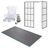 Arezzo 1600 x 900 Wetroom Enclosure Pack - Matt Black Grid profile small image view 1