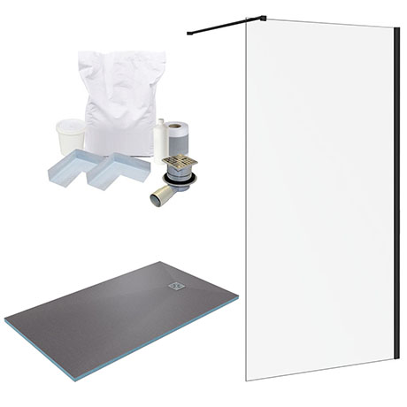 Arezzo 1600 x 900 Wet Room Pack - Matt Black