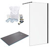 Arezzo 1600 x 900 Wet Room Pack - Matt Black profile small image view 1