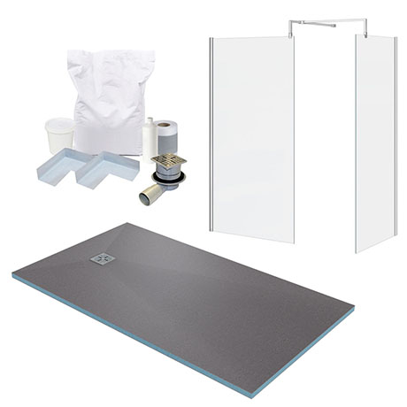 1600 x 900 Wet Room Enclosure Pack - Chrome