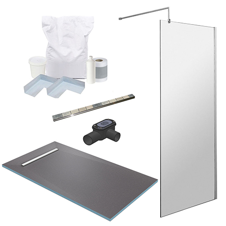 1600 x 900 Wet Room Pack with 600mm Linear Waste