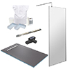 1600 x 900 Wet Room Pack with 600mm Linear Waste profile small image view 1