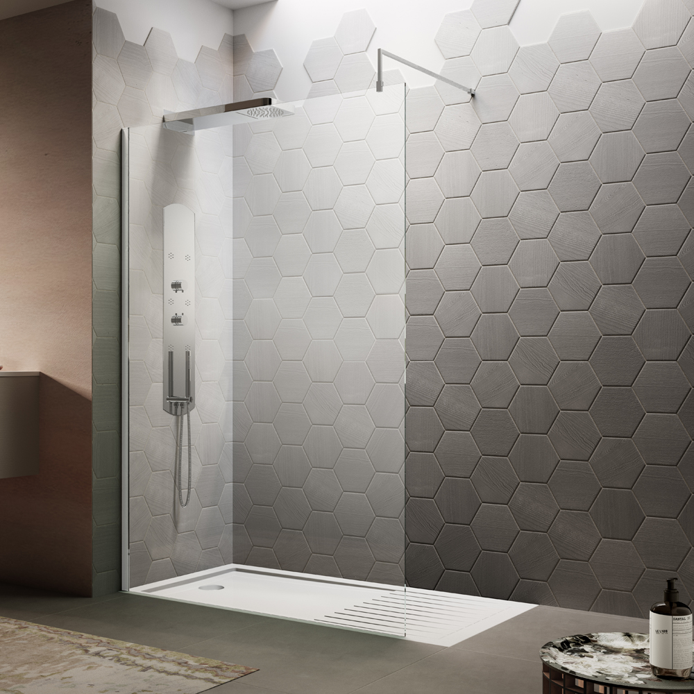 Nuie Wetroom Screen + Square Support Arm (Various Sizes)