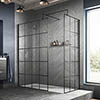 Hudson Reed Black Frame Wetroom Screen with Support Arm profile small image view 1