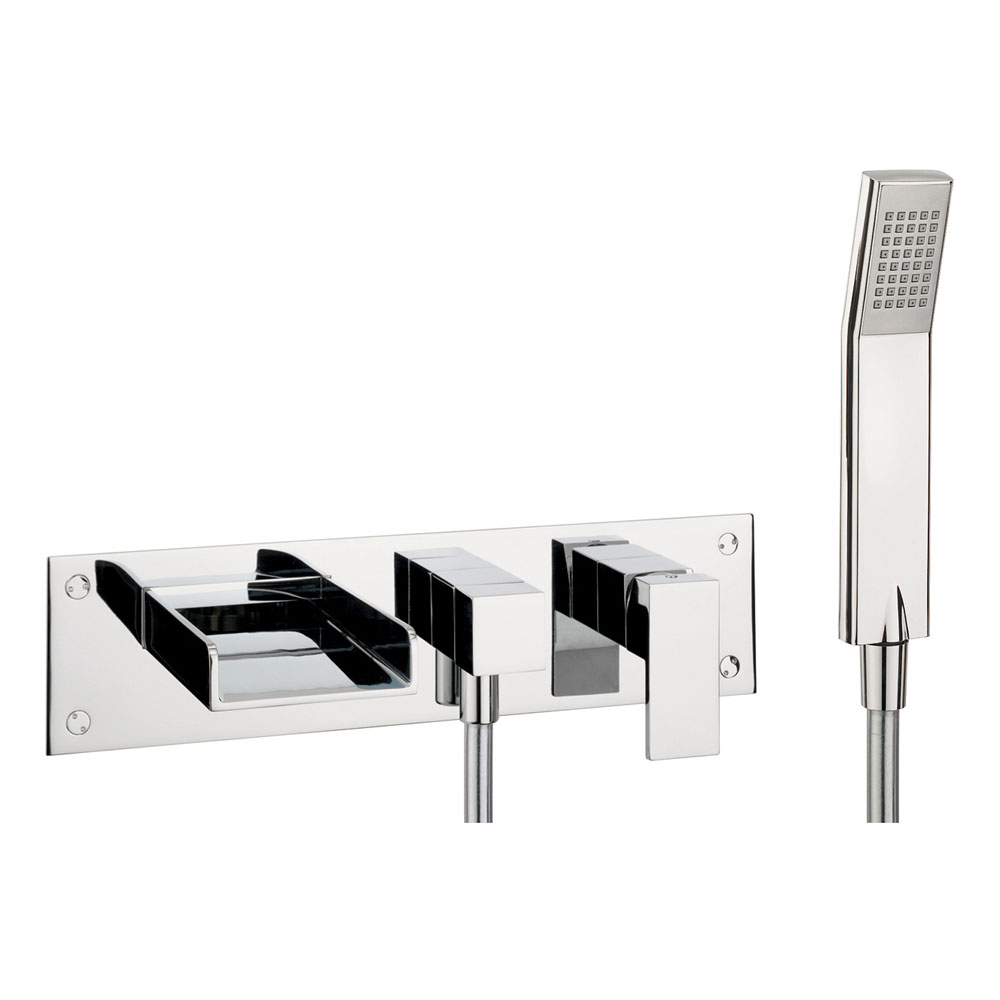 Crosswater - Water Square Wall Mounted 3 Hole Bath Shower Mixer - WS432WC Large Image