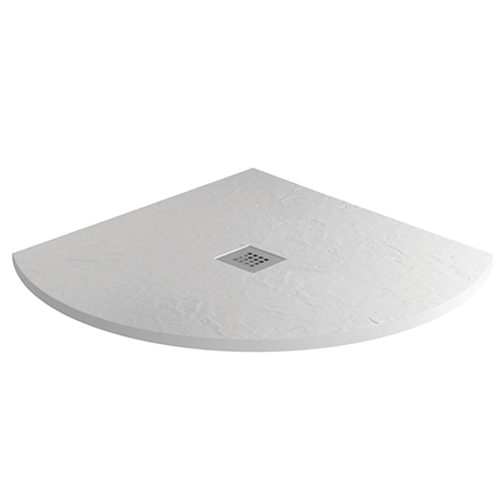 Imperia 800 x 800mm White Slate Effect Quadrant Shower Tray + Chrome Waste
