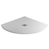 Imperia 800 x 800mm White Slate Effect Quadrant Shower Tray + Chrome Waste profile small image view 1