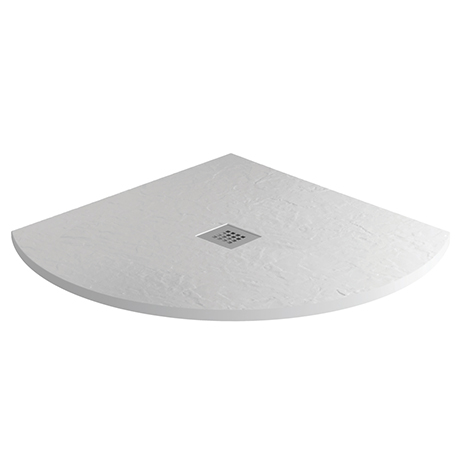 Imperia 900 x 900mm White Slate Effect Quadrant Shower Tray + Chrome Waste