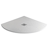 Imperia 900 x 900mm White Slate Effect Quadrant Shower Tray + Chrome Waste profile small image view 1