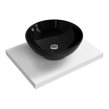 600 x 450mm White Shelf with Round Black Ceramic Basin