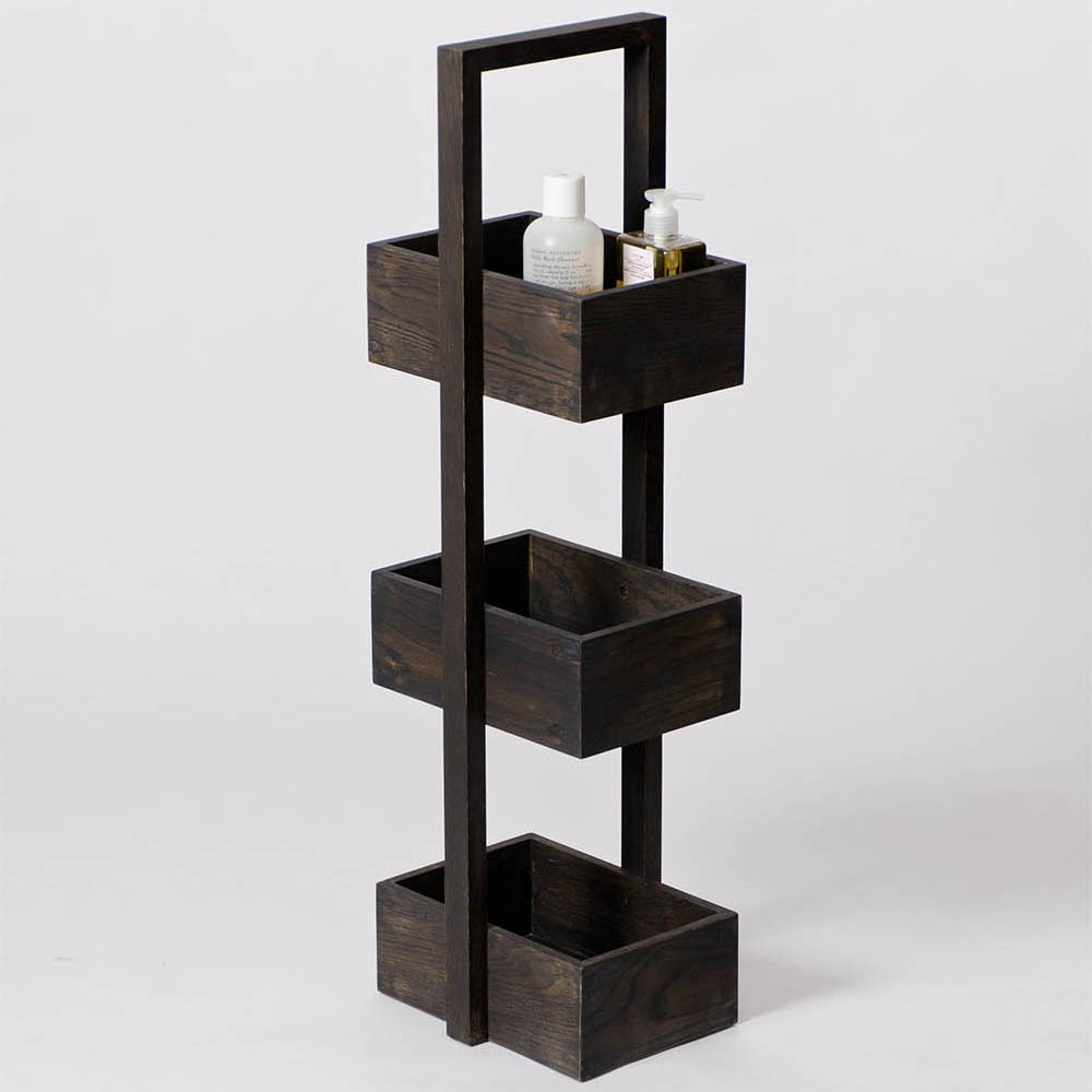 Freestanding Wooden Storage Caddy Dark Oak