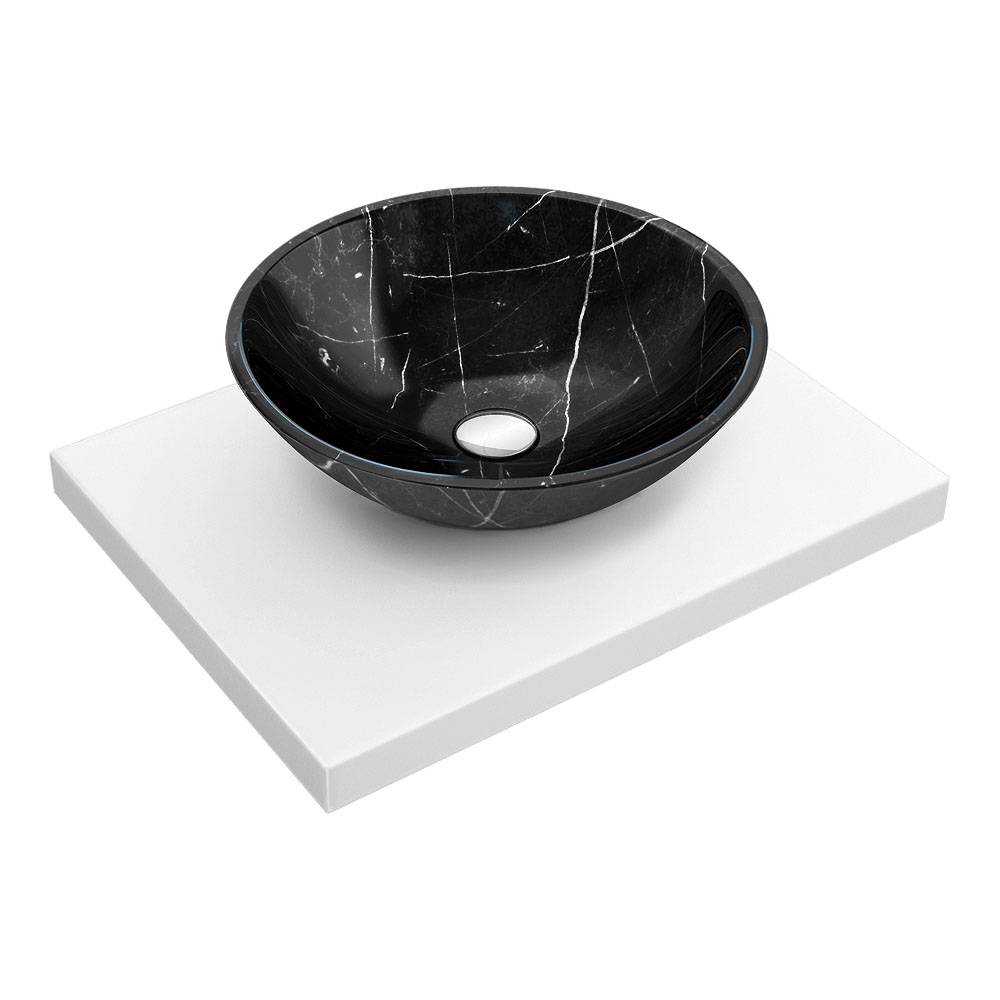 600 x 450mm White Shelf with Round Black Marble Basin