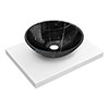 600 x 450mm White Shelf with Round Black Marble Basin profile small image view 1
