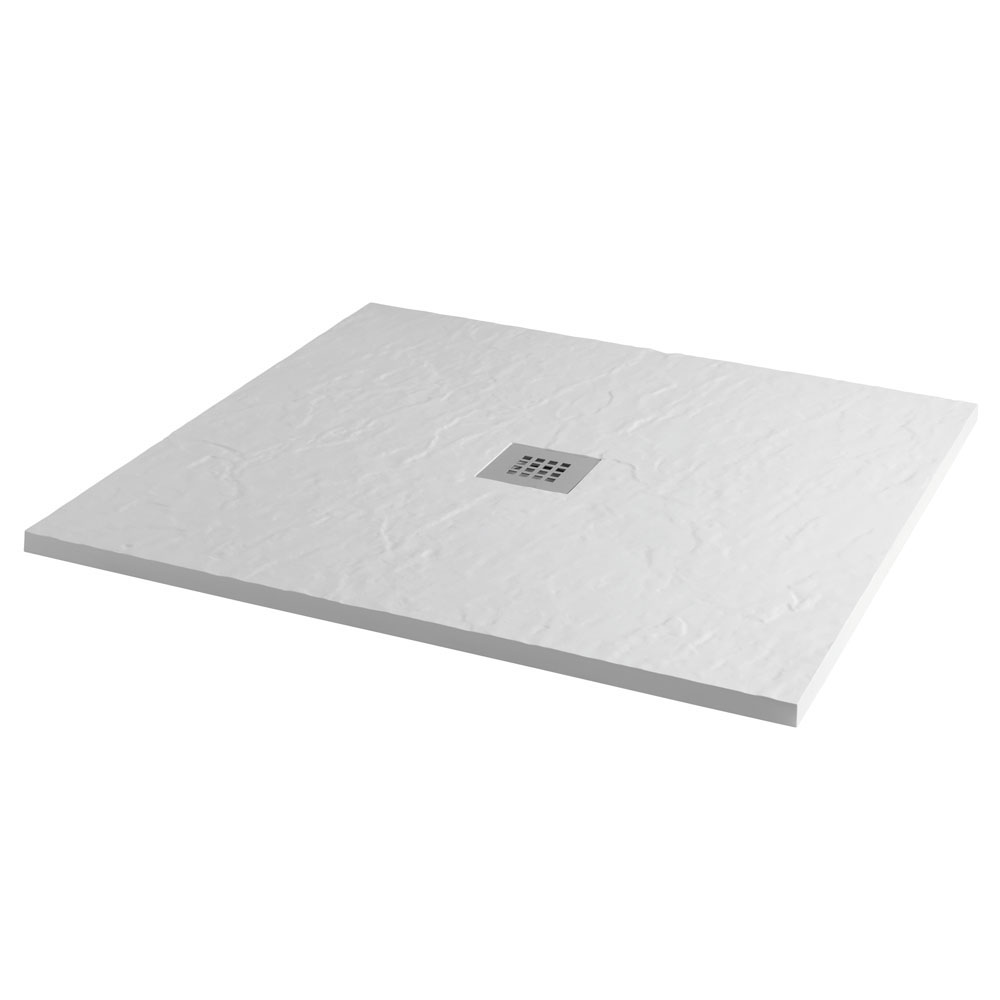 Imperia 800 x 800mm White Slate Effect Square Shower Tray + Chrome Waste